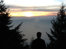 Oyster Dome Hike Dave at sunset 4.45 pm