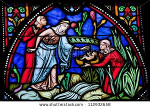 baby Moses stained glass